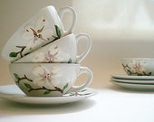 Mid Century Cups and Saucers Orchard Ware Pottery Dogwood PatternBlack Friday/ Cyber Monday