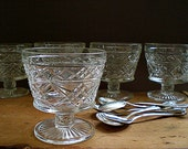 Hazel Atlas Glass Stemmed Dessert Bowls, Ice Cream bowl