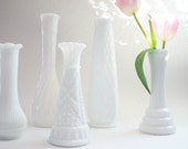 RESERVED FOR MINDY Milk Glass Vase Collection Vintage Shabby Chic Bud Vases
