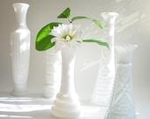 White bud vase collection, Shabby chic milk glass wedding mix