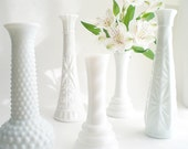 White Bud Vase Collection Shabby Chic Milk Glass Wedding Mix