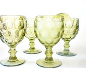 Green Wine Glasses, Vintage Stemware, Mid Century Barware Water Goblets, Holiday Entertaining