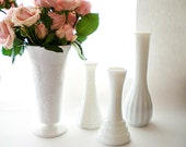 White Vase Collection, Shabby Chic Wedding Milk Glass