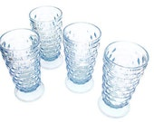 Indiana Glass Tumblers, American Whitehall Ice Blue Drinking Glasses, Cubist Design, Vintage Glassware