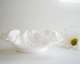 Milk Glass Dish  Vintage Decor White Hobnail Candy Bowl