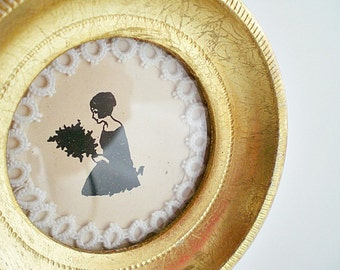 Miniature Framed Silhouette, Shabby Chic Vintage Cottage Chic Decor Round Gold Frame
