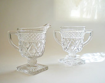 Imperial Glass Cream & Sugar Set Glass Sugar and Creamer Cape Cod Stemmed Footed Pedestal Shabby Cottage Chic Kitchen