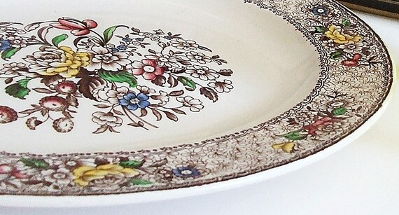 Vintage Serving Platter, Antique English China,  Brown Transferware Plate, Shabby Chic Home Deco
