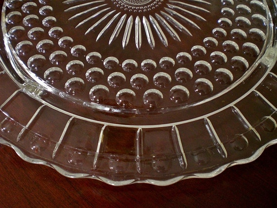 Vintage Pressed Glass Cake Plate with Sunflower Pattern