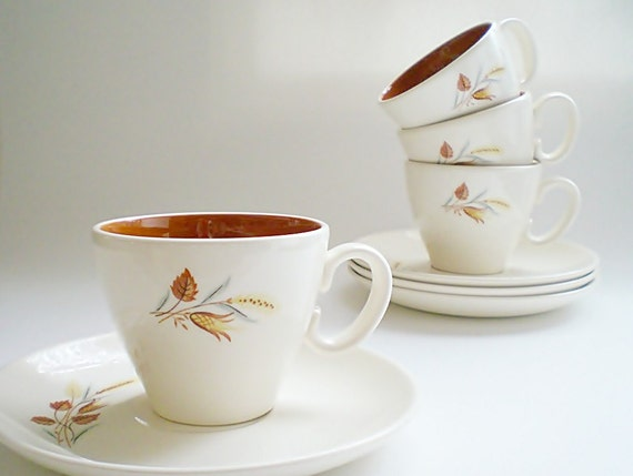 Mid Century Ceramic Tea Cups & Saucers, Vintage Taylor Smith,  Autumn Harvest, Burnt Orange