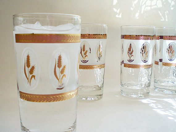 Vintage Drinking Glasses Glass Barware Cocktail Glasses Frosted Glass Tumblers Retro Decor Glassware Gold Wheat Holiday Entertaining