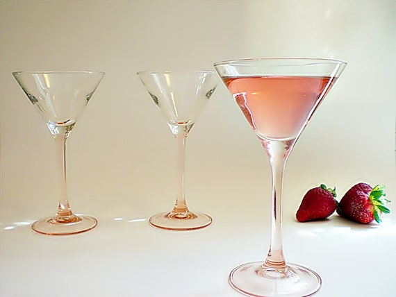Vintage Martini Glasses, 5 Tall Pink Stems with Clear Bowls