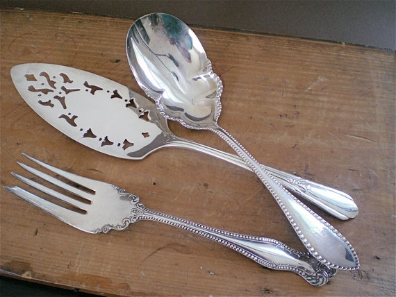 Vintage Silver Flatware Serving Spoon, Fork & Cake Server / A Charming Shabby Chic Wedding Collection