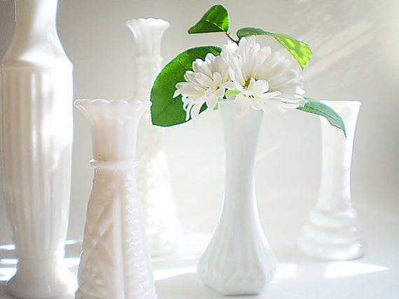 White bud vase collection, Shabby chic milk glass wedding mix