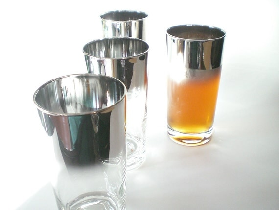 Vintage Ombre Glass Set,  Silver Rimmed Mid Century Barware