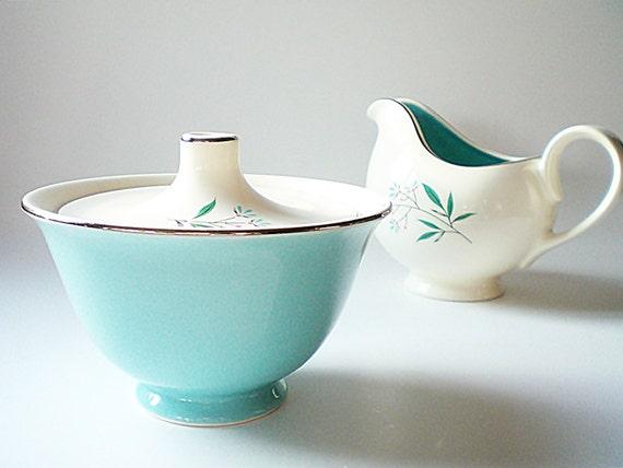 Mid Century China / Cream & Sugar Set / Turquoise Floral