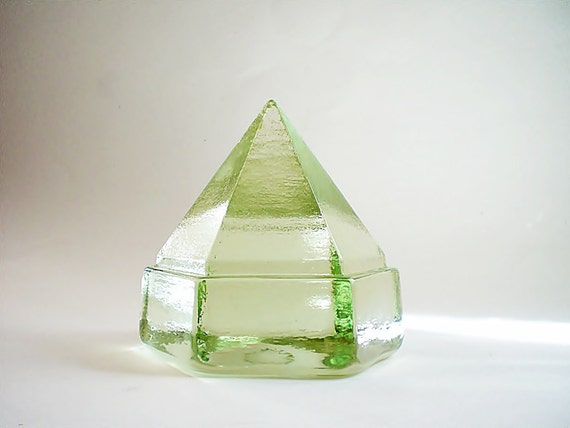 Vintage Glass Paperweight Bookend / Repurposed Deck Light / Nautical Beach Decor