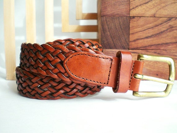 Womans Brown Leather Belt,  Woven Leather Brown Belt, Casual Braided Vintage Fashion