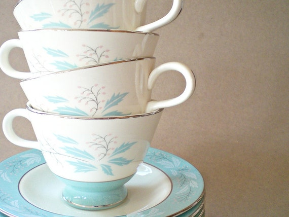 Vintage Cup, Saucer, Bowls & Plates 60s Turquoise China