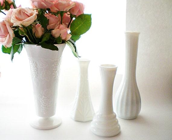 White Vase Collection, Shabby Chic Wedding Milk Glass