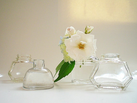Glass Vase Collection Upcycled Vintage Ink well & Bottles