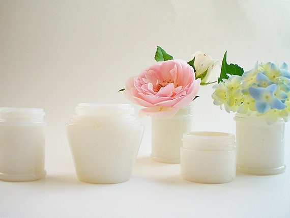 Mini Flower Vase Wedding Centerpiece, Vintage milk glass jars, Upcycled