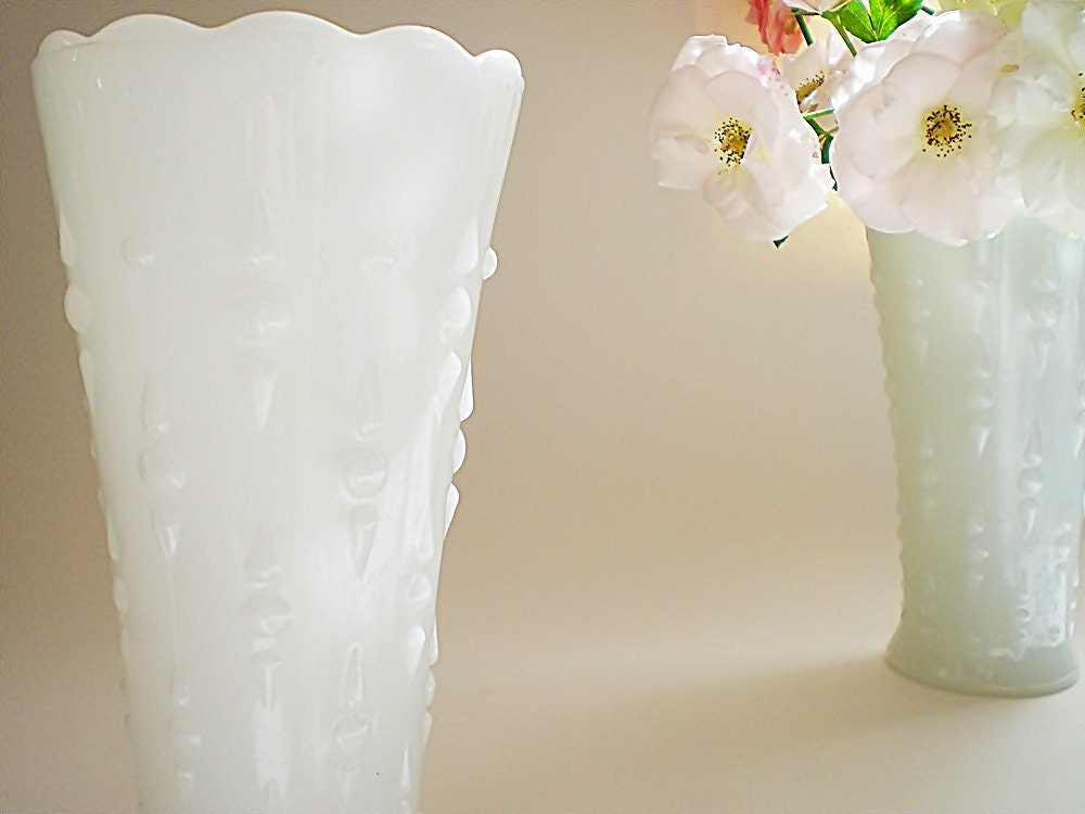 Vintage Milk Glass Vases White Vase Set Cottage Chic