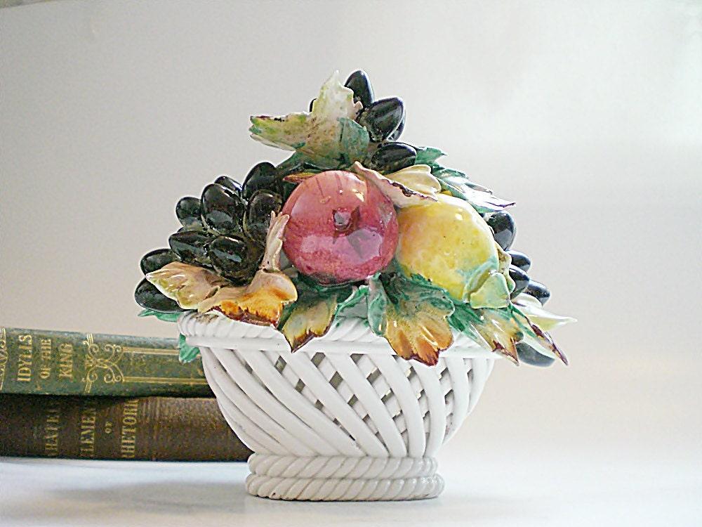 Capodimonte China Fruit Basket Vintage Italian By Vintagebiffann