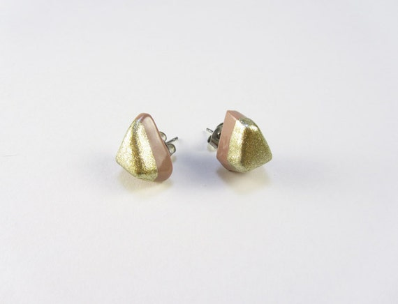 SALE: Nugget Earrings Nude and Gold Studs