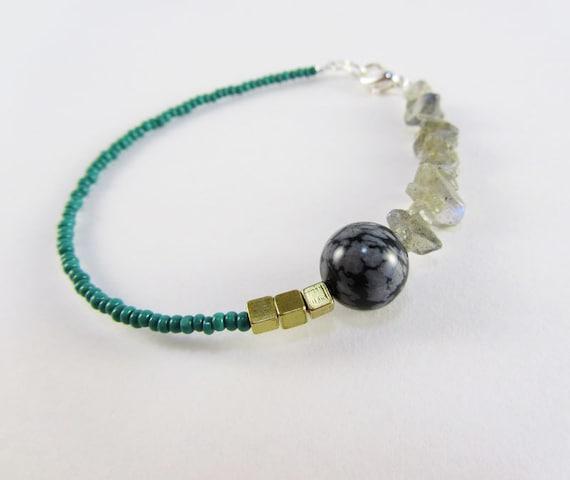 SALE: Stone and Brass Bracelet Teal Gray Snowflake Jasper, Labradorite chip, Brass Cubes, Seed Beads