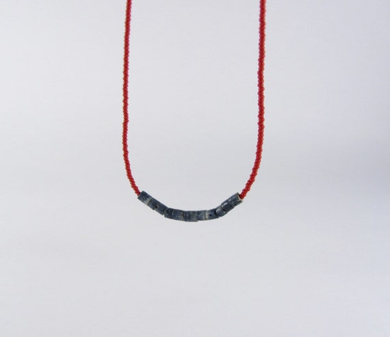 RESERVED for Samantha: Red Seed Bead Necklace with Blue Sponge Coral