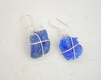 Cobalt Blue Seaglass Earrings - Wire Wrapped Seaglass Jewelry