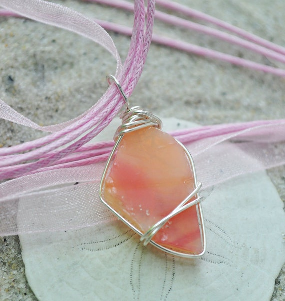 Pink Seaglass Necklace, Wire Wrapped Beach Glass Pendant, Seaglass Jewelry- Rare