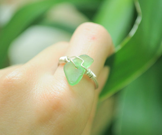 Green Seaglass Ring - Size 6 - Great Ring for Spring