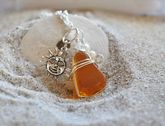 Yellow Seaglass Necklace with Sun Charm and Pearls - Seaglass Jewelry - Rare