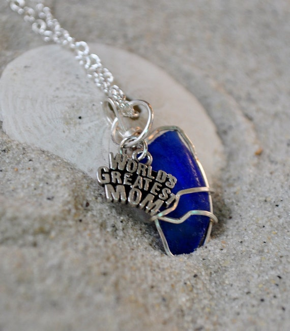 """Seaglass Necklace  """"Worlds Greatest Mom"""" Charm - Cobalt Blue Seaglass Jewelry"""