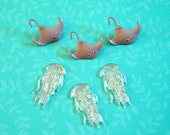 Sea Creatures Jellyfish Cabochons 6pc