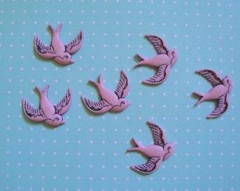 Retro Pink Bird Cabochons 12pc