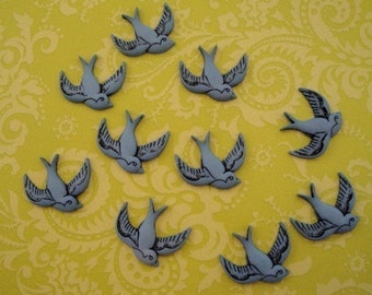 Retro Bird Buttons 6pc