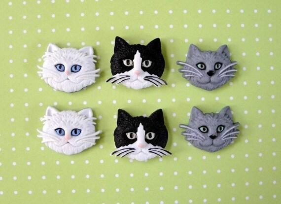 Cat Face Buttons 6 pc