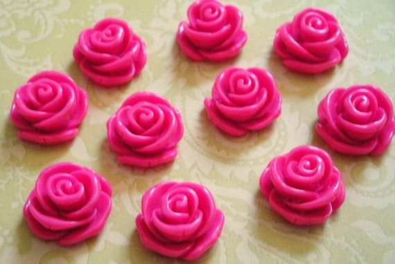 Pink Resin Roses 23mm 12pc