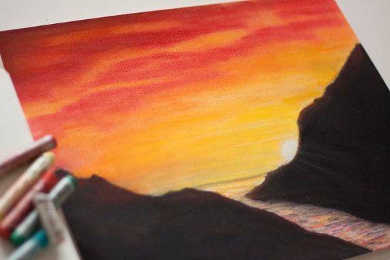 Sunset drawing with oil pastels by miki4212 on DeviantArt |Pastel Drawings Of Sunsets