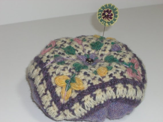 Recycled Lavender Wool Tomato Pincushion with Penny Pin Topper