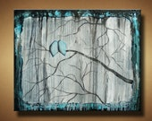 Gothic Blue Birds on Branch Original Painting - 24 x 30 -  Large and Heavily Textured - Looking Through the Mist by Britt Hallowell