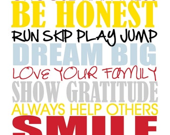 Family Rules Subway Art Typography - Printable - custom and personalized, mothers day, fathers day, birthday