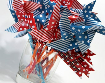 Independence Day party favors (20), Fourth of July pixy sticks, decoration, table toppers