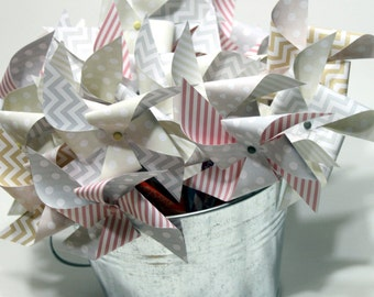 Pinwheel pixy stick - party favors - wedding favors, bridal shower, baby shower shabby chic