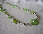 GREEN WITH ENVY Shell Necklace -Green, Silver and White