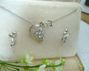 "Tru Kay Sterling Silver ""Box Set"" Rhinestone Necklace and Earrings"