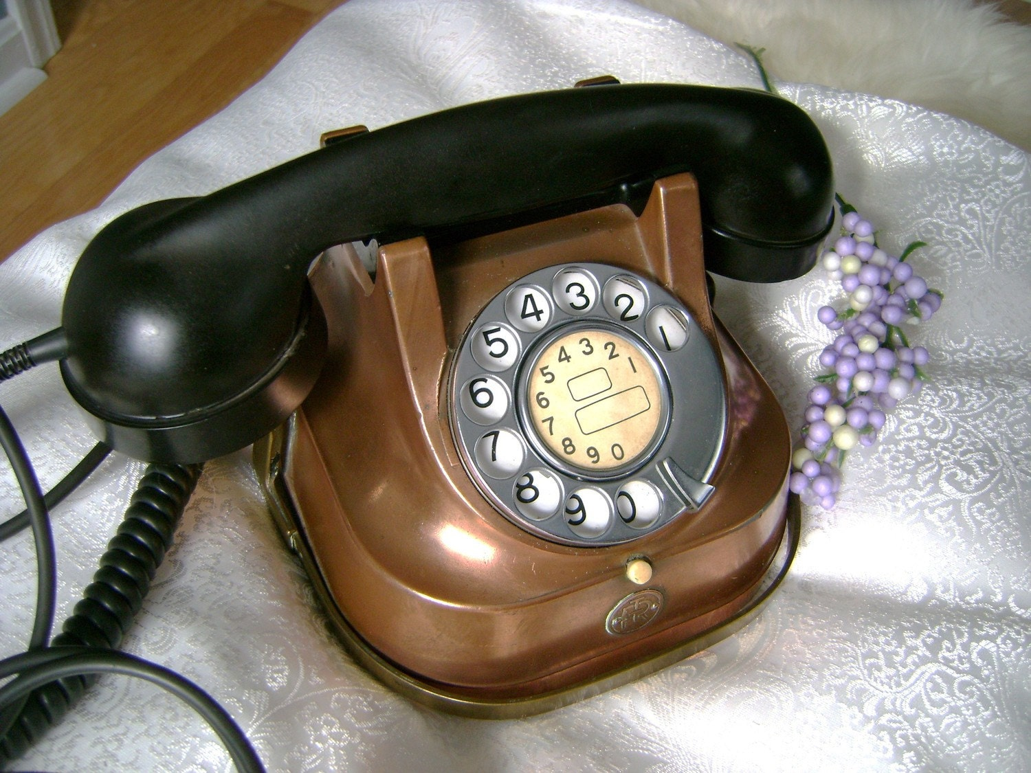 Vintage Rotary Belgian Copper Antique Telephone